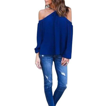 Off Shoulder Long Sleeve Top (Women Cold Off Shoulder Chiffon Tops Casual Loose Straps Blouse Ladies Long Sleeve Summer Fashion Solid Bardot T-shirt)