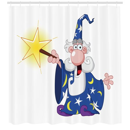 Wizard Shower Curtain, Medieval Ancient Mage with a Crazy Face Expression Creating a Powerful Spell Clipart, Fabric Bathroom Set with Hooks, 69W X 70L Inches, Multicolor, by (Face Clipart)