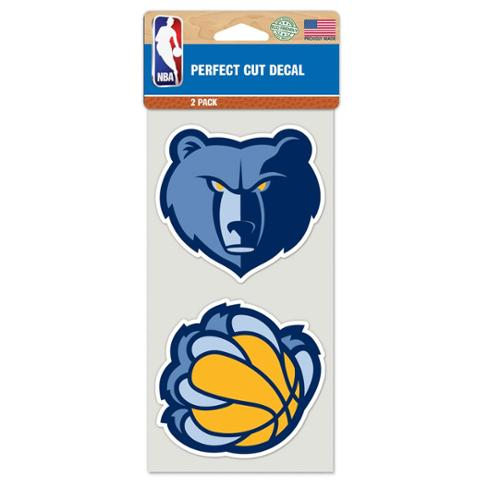 Memphis Grizzlies Official NBA 4 inch x 4 inch  Each Die Cut Car Decal 2-Pack by WinCraft