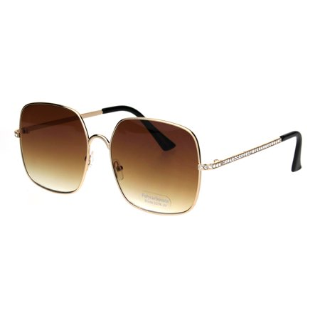 8583f246b60 SA106 - Womens 90s Oversize Metal Rim Rectangle Bling Rhinestone Sunglasses  Gold Black Brown - Walmart.com
