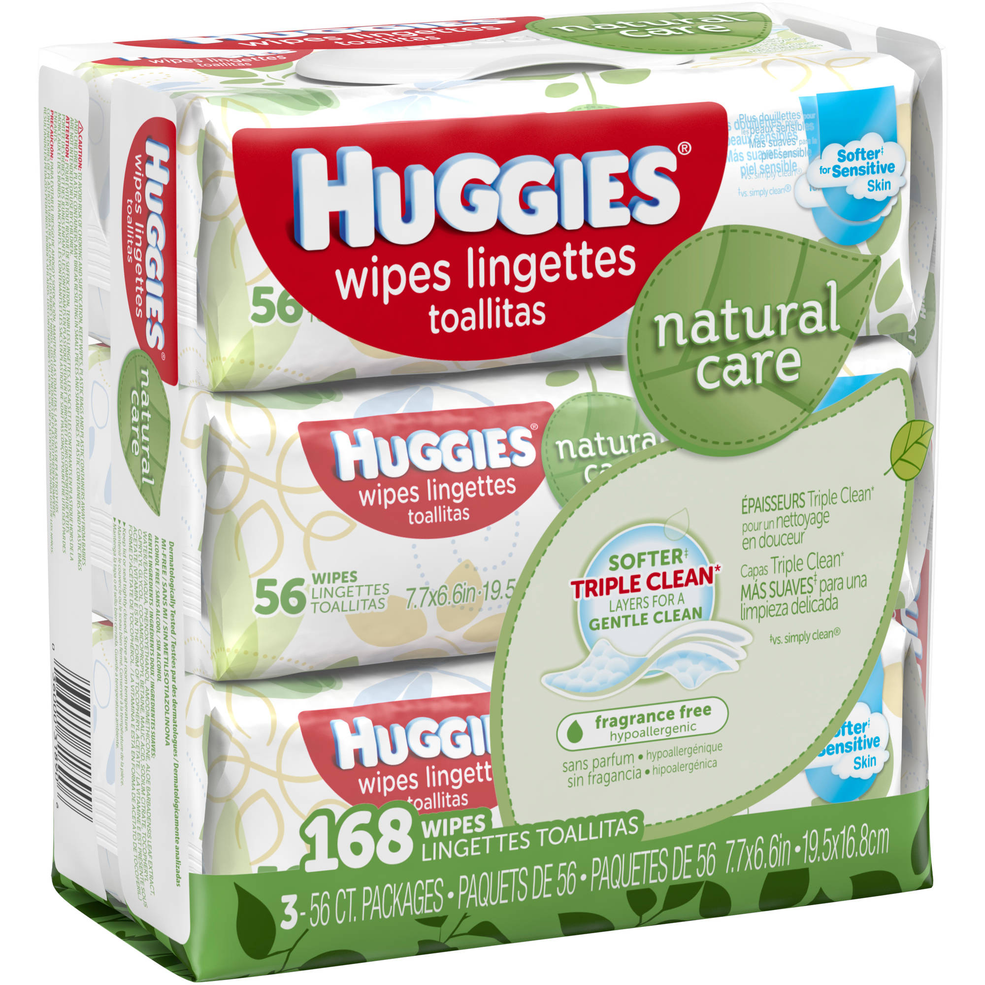 Huggies Natural Care Baby Wipes, Refill, Unscented, Hypoallergenic ...