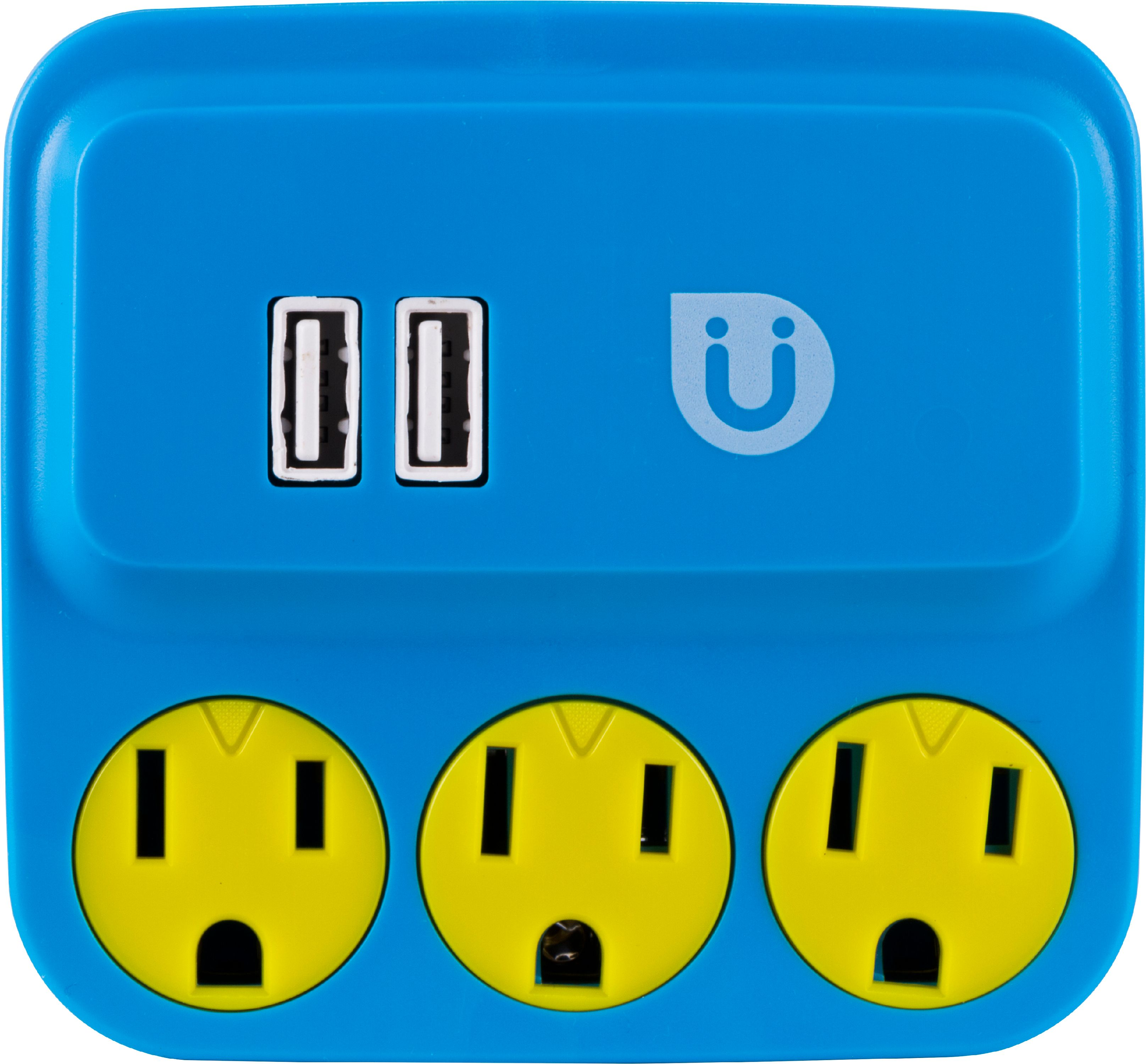 Uber Power Tap Charging Station, 3 Grounded Outlets, 2 USB Ports, Blue & Yellow, 25114