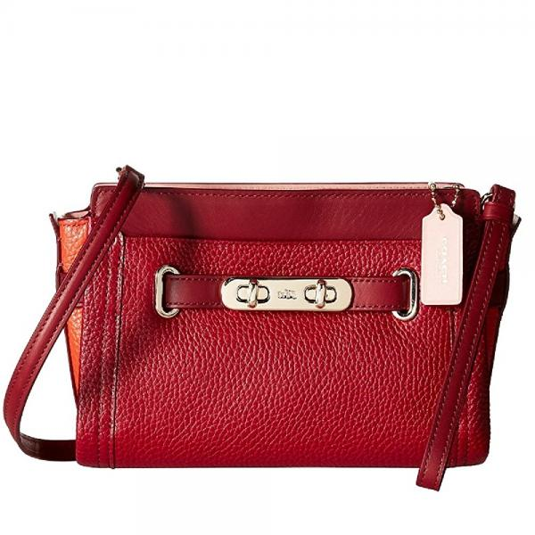 COACH Women's Color Block Pebbled Leather Coach Swagger Wristlet LI/Black Cherry Cross Body