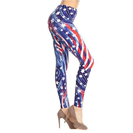 afa5a9fb6d6e4 Fourever Funky - Patriotic Stars Abstract Swirls American Flag Inspired  Leggings - Walmart.com