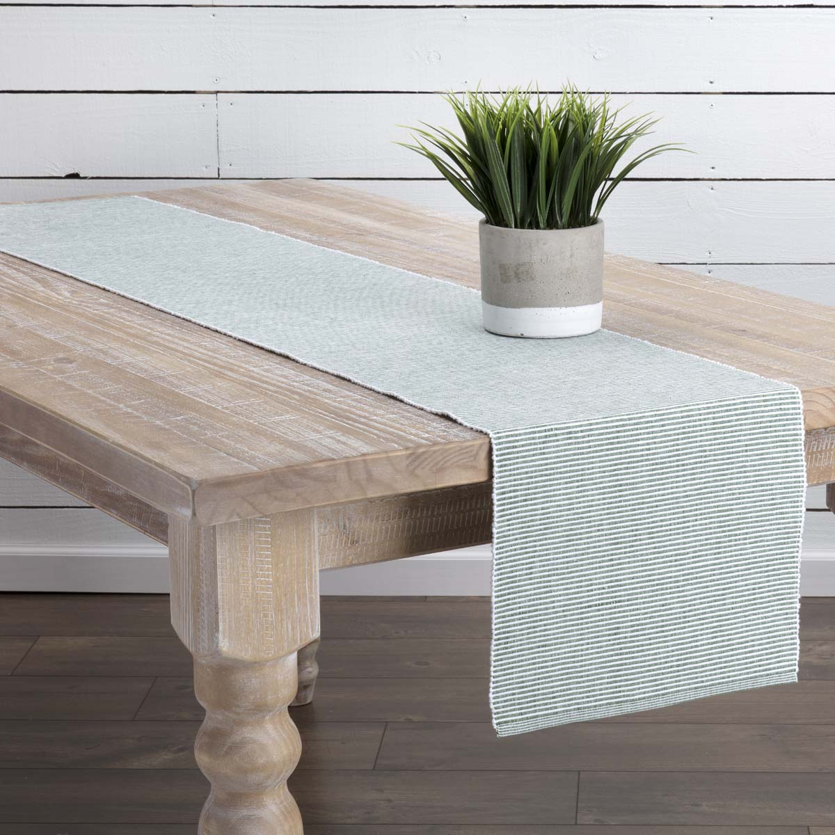 Basil Green Farmhouse Tabletop Kitchen Ashton Cotton Striped Rectangle 13x72 Runner