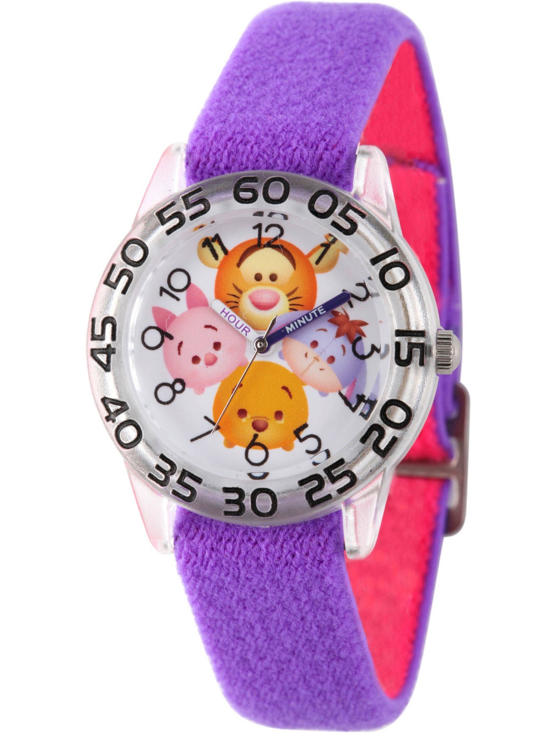 Disney Tsum Tsum, Tigger, Pooh, Goofy, Eeyore and Piglet Girls' Clear Plastic Time Teacher Watch, Reversible Purple and Blue Nylon Strap
