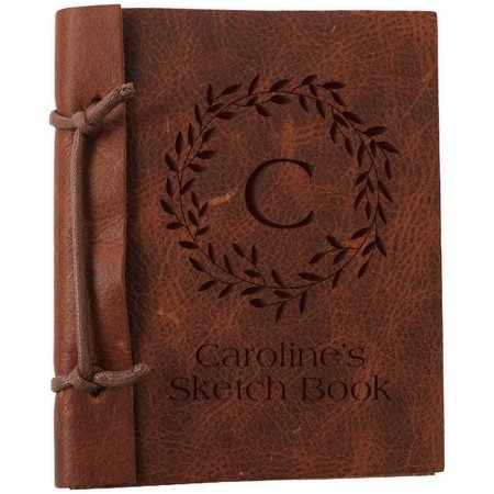 Antique Leather Journals - Custom Wreath Authentic Leather Journal, Large: 8.8
