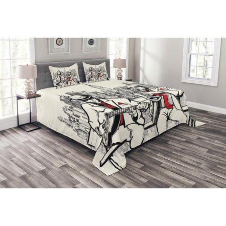 Music Bedspread Set, Jazz Men Band Playing Beats in New York at Night Retro Style Illustration Print, Decorative Quilted Coverlet Set with Pillow Shams Included, Red Black Ecru, by Ambesonne (New York Mets Sham)