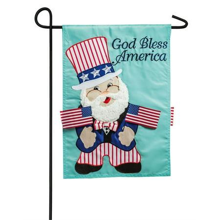 Uncle Sam Gnome Garden Flag 2 Sided Applique Uncle Sam Flag