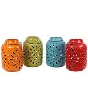40086-Ast Assortment Set Of Four Ceramic Antique Lantern With Metal Handle