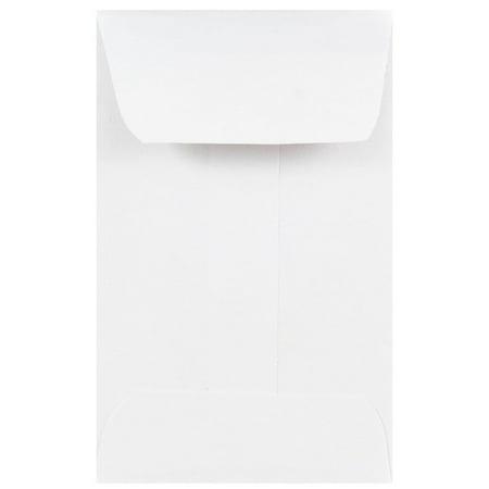 JAM Paper #1 Coin Business Envelopes, 2 1/4 x 3 1/2, White, - 2 Piece Envelope