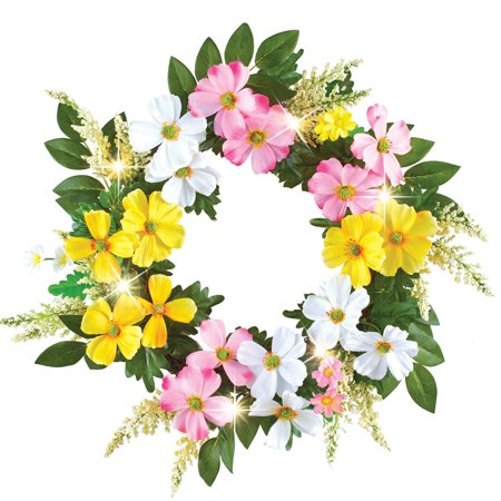 Dogwood Floral Spring Wreath with LED Lights and Lush Greenery, Hook Attached for Easy Hanging](Easy Halloween Wreaths)