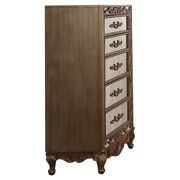 5 Drawer Wooden Chest with Mirror Inserts and Scrollwork, Gold