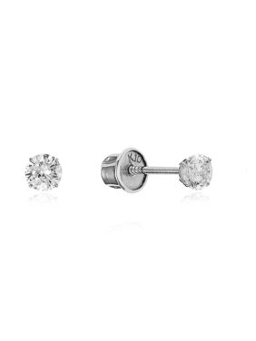 Product Image 10k White Gold 2mm Basket Round CZ Cubic Zirconia Solitaire Children Screw Back Baby Girls Earrings