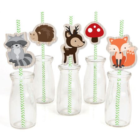 Decorative Computer Paper - Woodland Creatures - Paper Straw Decor - Baby Shower or Birthday Party Striped Decorative Straws - Set of 24