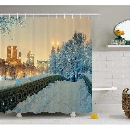 Central Park Snow (Winter Shower Curtain, Central Park Winter Skyscrapers and Snow Bow Bridge Manhattan New York, Fabric Bathroom Set with Hooks, Orange White Olive Green, by Ambesonne )
