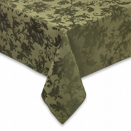 BB&B Holiday Joy Green Damask Flower Fabric Tablecloth Table Cloth 60x104 Oblong ()