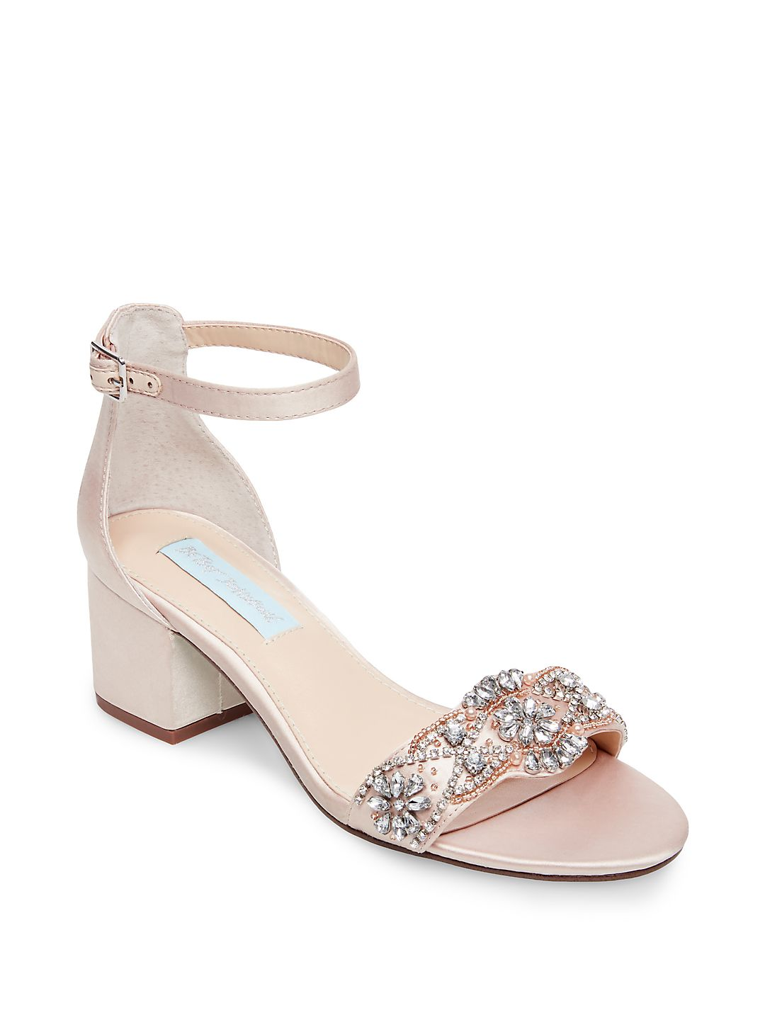 Womens Betsey Johnson Mel Bejewled Ankle Buckle Strap Sandals, Champagne