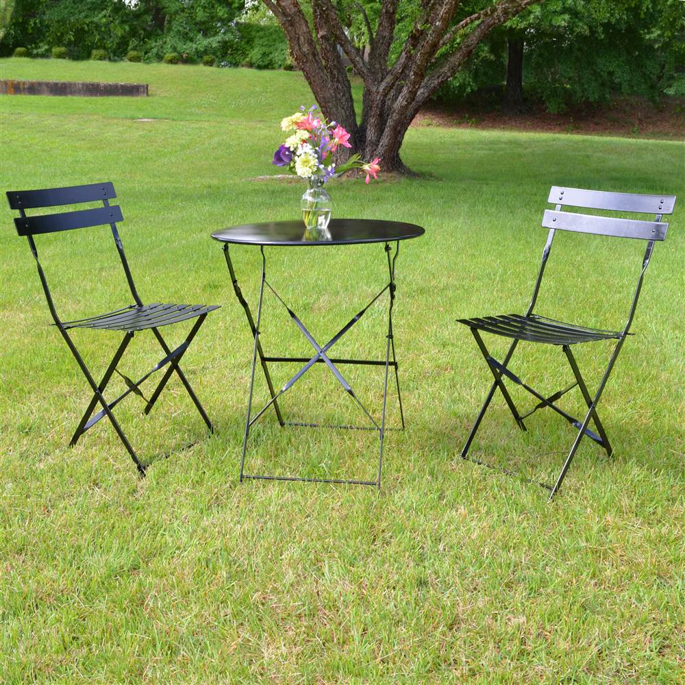3-Pc Bistro Set in Onyx Black by Carolina Chair and Table Company