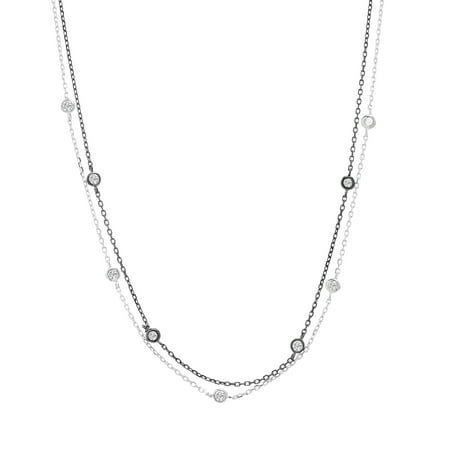 Lesa Michele Women's White Cubic Zirconia By The Yard Double Stranded 16
