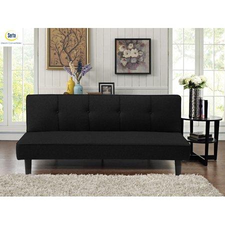 Lifestyle Solutions Serta Milan 3-Seat Multi-function Upholstery Fabric Sofa, Black Multi Fabric Sofa
