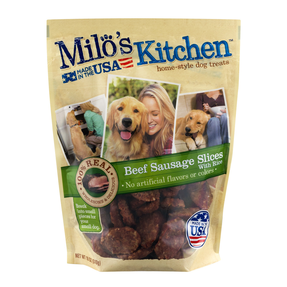 Milo's Kitchen Home-Style Beef Sausage Slices with Rice Dog Treats, 18 oz by Milo's Kitchen LLC
