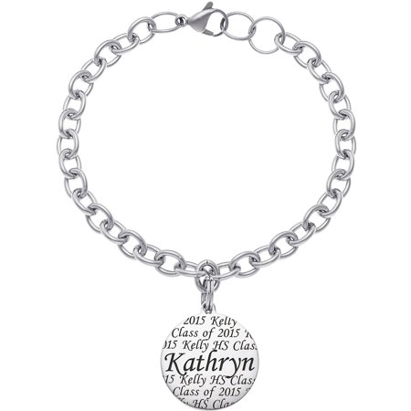 Personalized Girl's Stainless Steel Graduation Name Bracelet