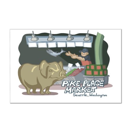 Seattle  Washington   Pike Place Market   Cartoon Icon   Lantern Press Artwork  12X8 Acrylic Wall Art Gallery Quality
