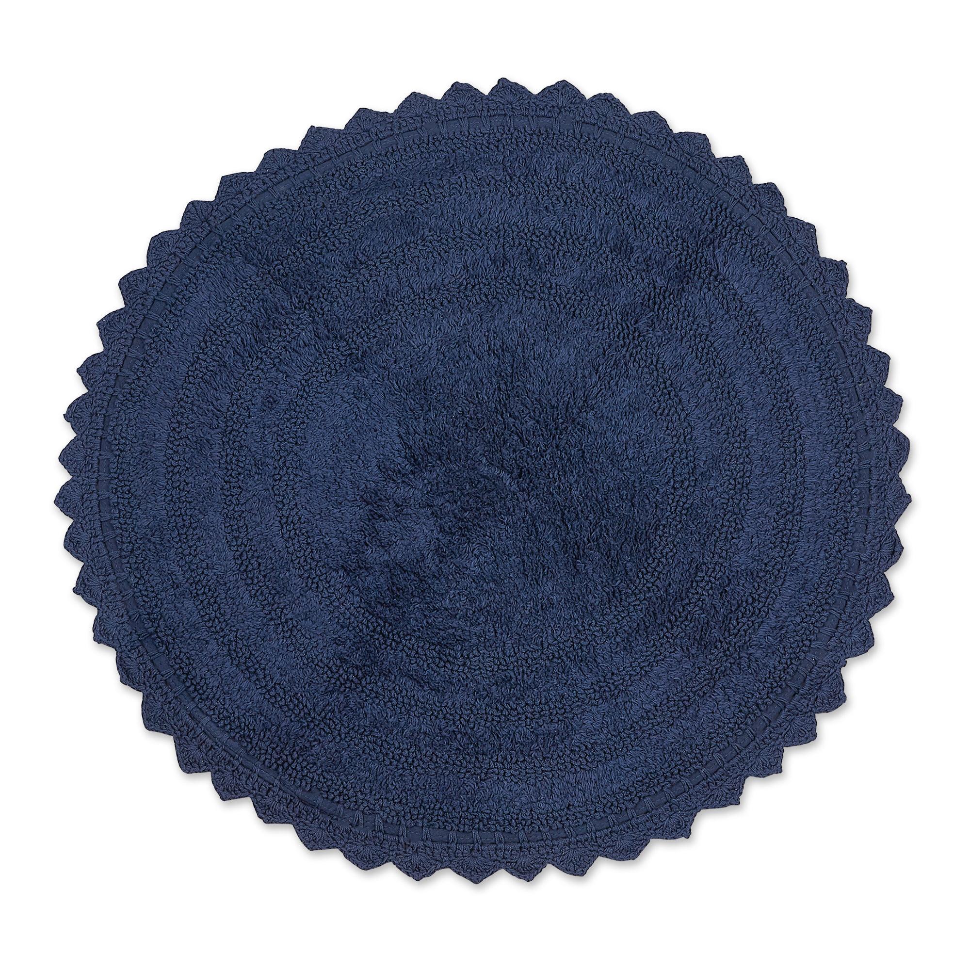 Dii French Blue Round Crochet Bath Mat Walmart Com Walmart Com
