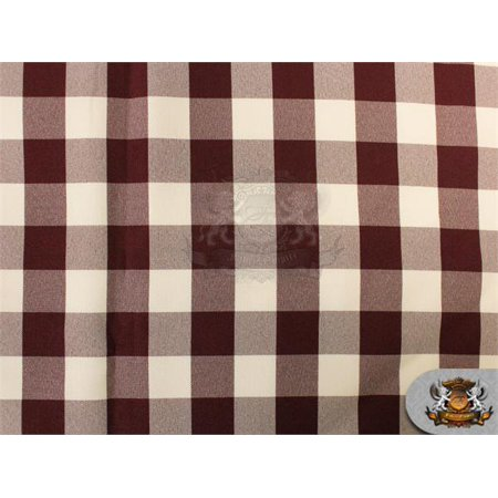 Poly Poplin Checkered Fabric 08 BURGUNDY / 58