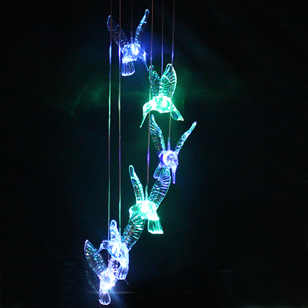 AGPtek Solar Light Automatically Color Changing LED Hummingbird Wind Chimes With Built in Battery For Longer Life