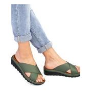 Women Peep Toe Cross Sandals Casual Slip On Low Heel Slipper Platform Shoes Summer