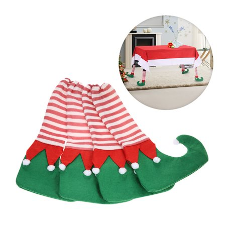 4pcs/set Christmas Table Chair Leg Covers Set for Square Round Legs Christmas Decorations Ornaments--Green Elf Shoe Style](Elf Door Decoration)