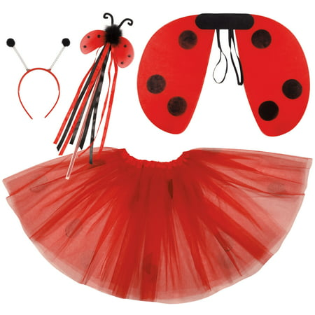 Ladybug Wings Skirt Headband Wand Girls 4pc Costume Set, Red Black, One-Size](Wands And Wings)
