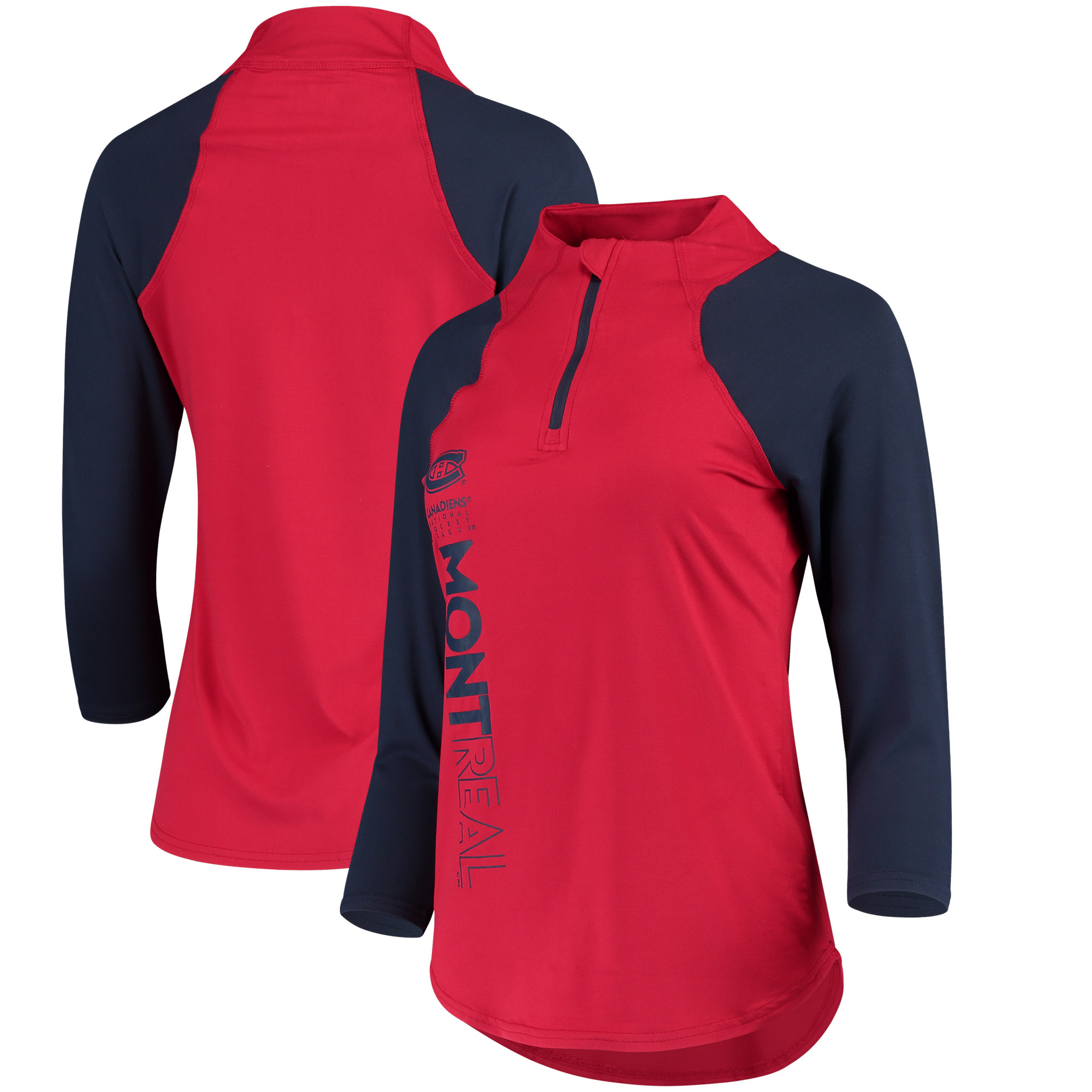 Montreal Canadiens G-III 4Her by Carl Banks Women's Zip It Up Quarter-Zip Long Sleeve T-Shirt Red Blue by G-III LEATHER FASHIONS INC