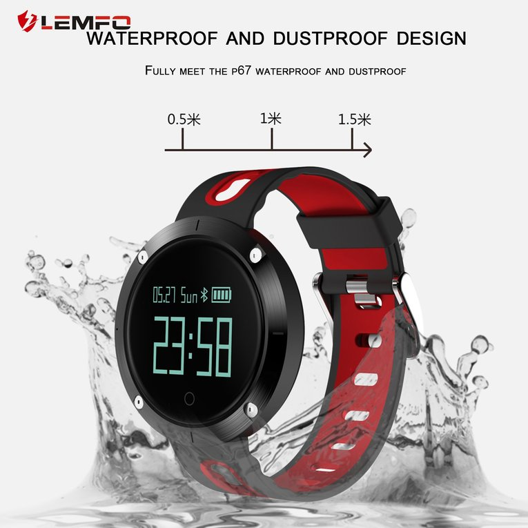 Red LEMFO T1 Heart Rate Blood Pressure Monitoring Smart W...
