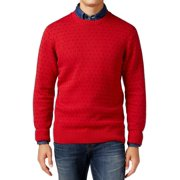 Weatherproof NEW Red Mens Size Medium M Dot-Print Crewneck Sweater