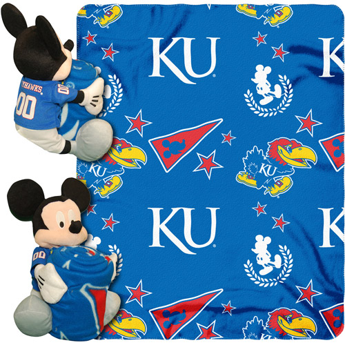 "Disney NCAA Hugger Pillow and 40"" x 50"" Throw Set, Kansas Jayhawks"