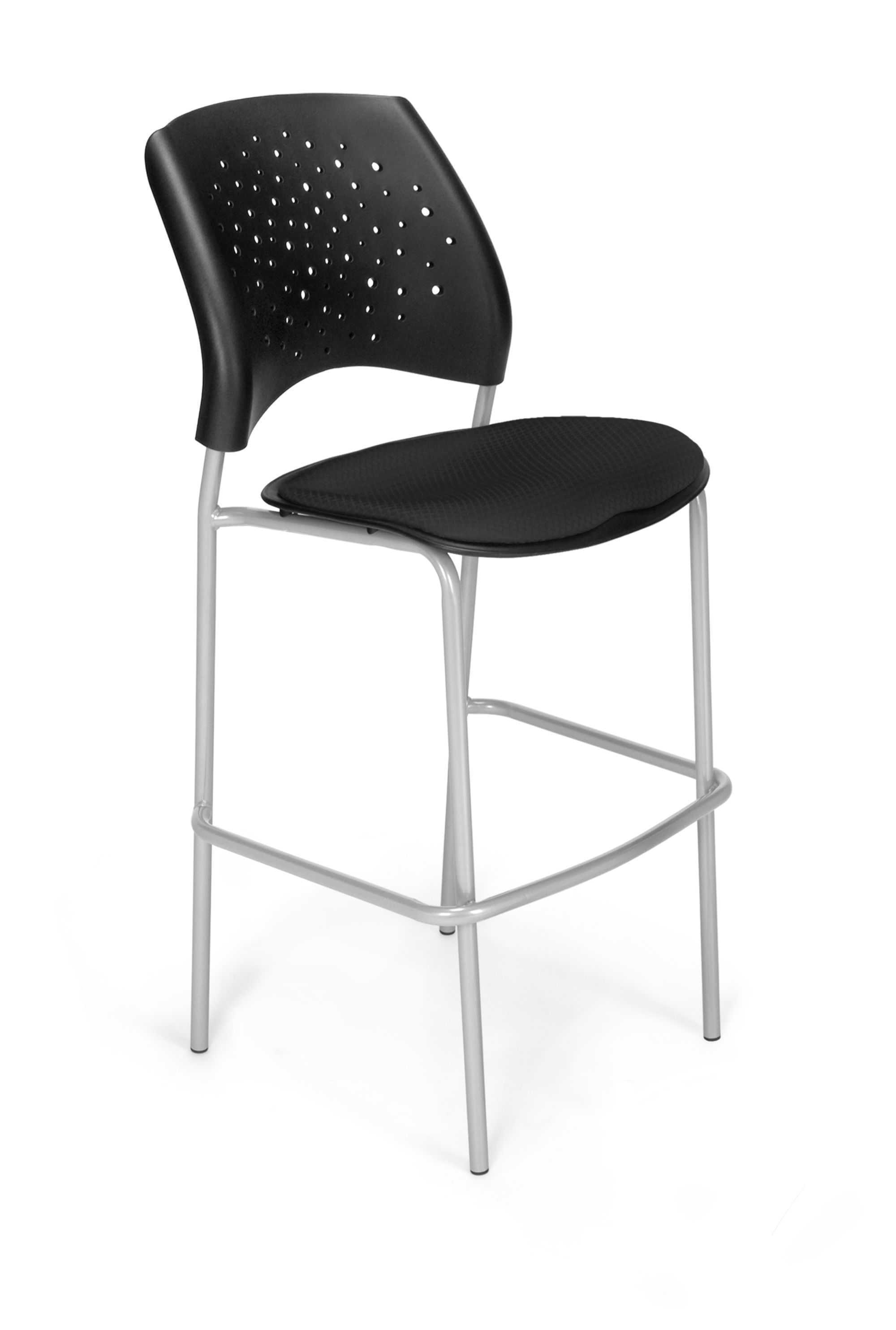 OFM Stars Series Model 328S Fabric Cafe Height Chair, Black With Silver  Base, Pack