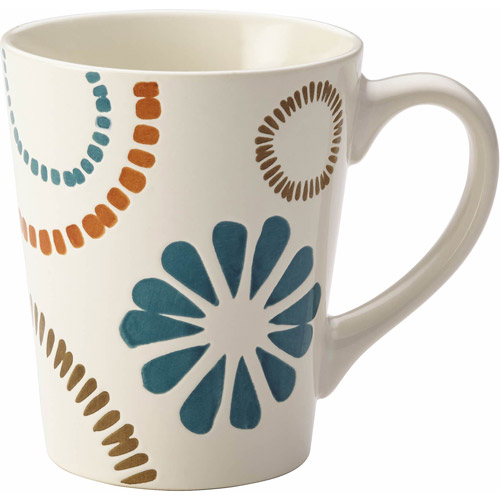 Rachael Ray Cucina Sun Daisy Dinnerware 12 oz Stoneware Mug, Agave Blue and Mushroom Brown