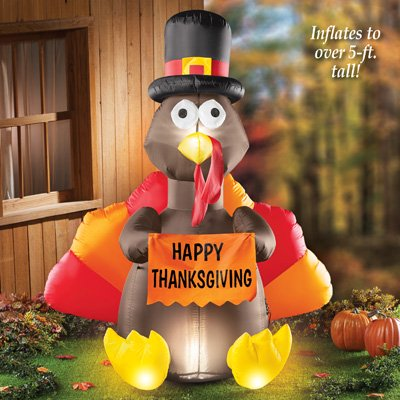 Collections Etc 5 Foot Tall Inflatable, Outdoor Turkey Decorations