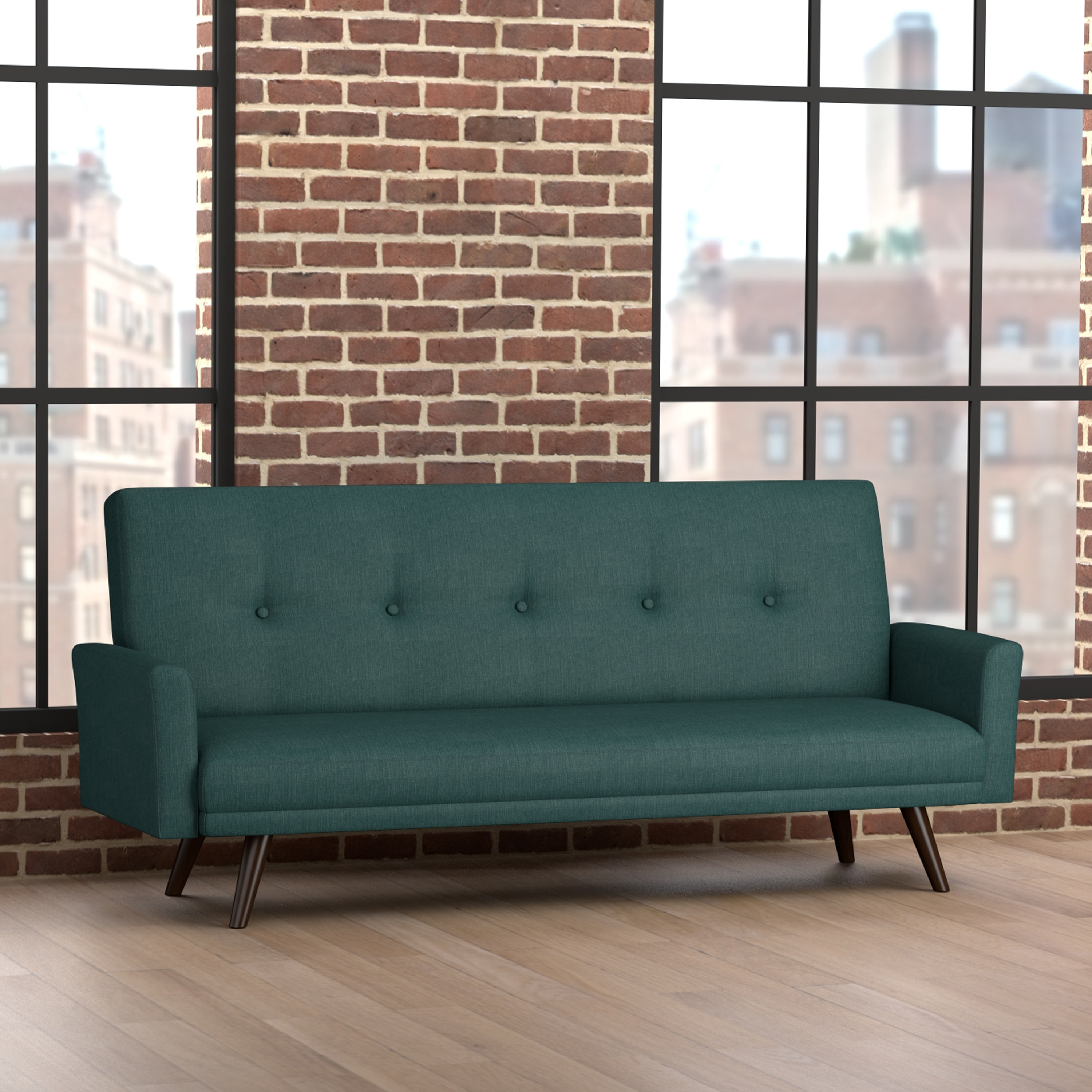Handy Living  Milliken Click Clack Peacock Blue Futon Sleeper Sofa