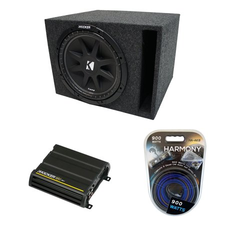 Universal Car Stereo Vented Port Single 10 Kicker Comp C10 Sub Box & CX300.1 Amp - Factory Certified