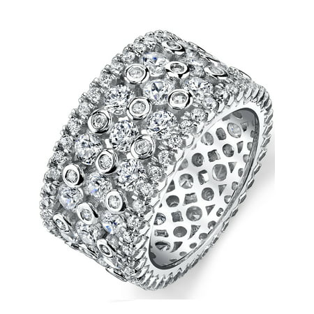Sterling Silver Wide Eternity Wedding Band Ring With Round Cut Cubic Zirconia, 11mm
