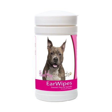 healthy breeds dog ear cleansing wipes for american staffordshire terrier - over 100 breeds - cleans dirt wax yeast - 70 count - easier than drops wash or rinses - help prevent infection &