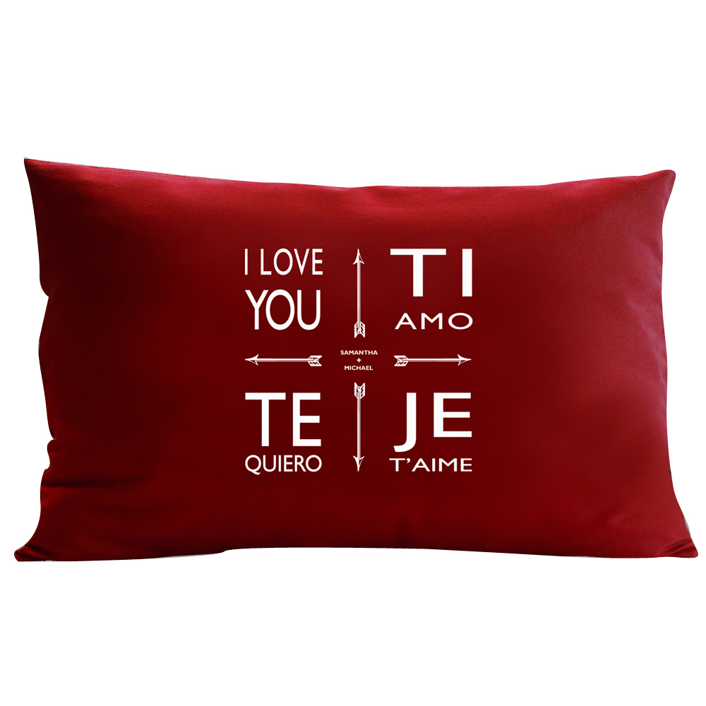 Personalized RedEnvelope Quad Love Pillow Blue 12x18