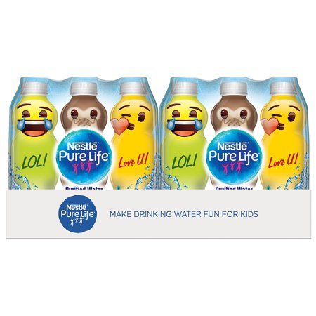 Nestlé Pure Life emoji Collection Drinking Water, 11.15 fl oz. Plastic Bottles (24