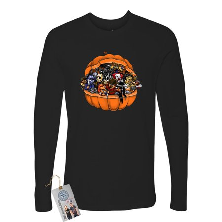 Pumpkin Halloween Scary Characters Sarcastic Mens Long Sleeve T-Shirt