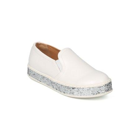 New Women PU Glitter Platform Low Top Slip On Sneaker - 17986 By Wild Diva