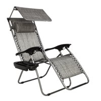 Zero Gravity Lounge Chair Folding Lawn Chairs with Awning Leisure Chair Gray